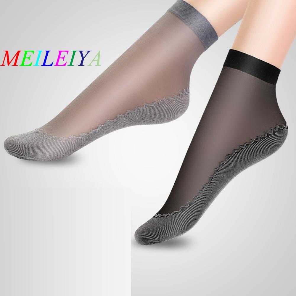 MEILEIYA 5 Pairs/bag High Quality Women's Socks Velvet Silk Summer Socks Quality Soft Cotton Bottom Wicking Slip-resistant Sock
