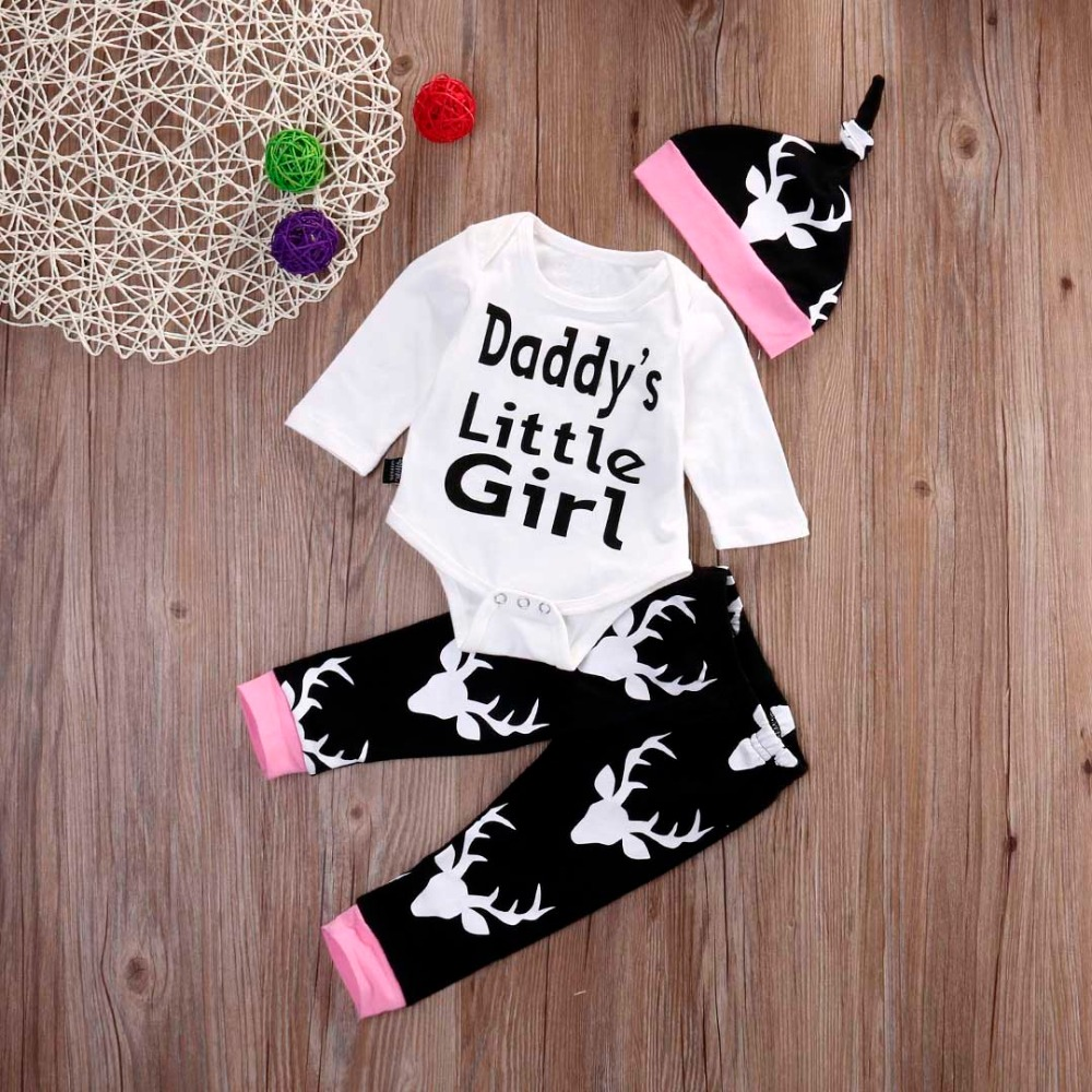 Newborn Baby girl clothing sets Infant Baby Daddys little girls Bodysuit+Deer Pants+ Hat 3Pcs suit Toddle girls clothes outfit