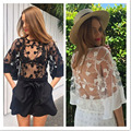 2 color blacke white solid lace embroidery see through sexy o neck half sleeves t shirts women clothings drop shipping