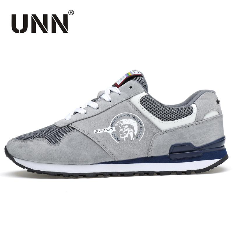 UNN New Men Sneakers Male Running Shoes Lace-up Outdoor Mens Sport Shoes Gray Wearable Athletic Trainers Blue