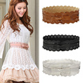 women ladies vintage PU leather hollow out flower lace bowknot wide waistband dress belt