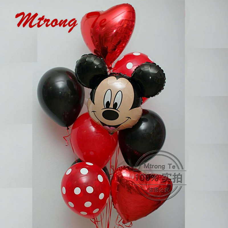 Shock-Resistant And Antimagnetic Rational 9pcs/lot Mickey Minnie Head Foil Balloons Heart Helium Balloon Latex Air Globos Baby Shower Birthday Party Decoration Kids Toys Waterproof Ballons & Accessories Festive & Party Supplies