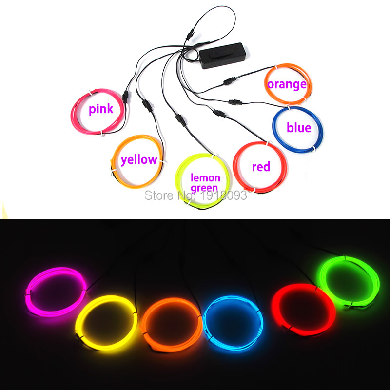 2017 Newest 2.3mm 10color Select 1M x 6pieces flexible EL wire rope tube Neon glowing LED Strip Toys for DIY Festival Decoration