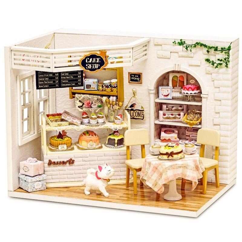 Собрать DIY деревянный дом Miniaturas с мебели DIY Миниатюрный Дом Кукольный домик игрушки для детей Рождество и день рождения h014