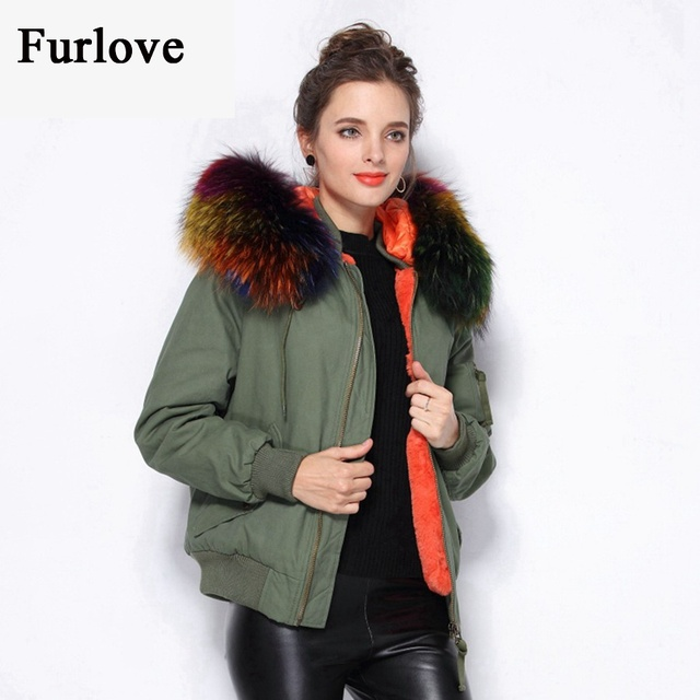 Black Army Green Parka Warm Real Raccoon Fur Collar Flight Pilot ...