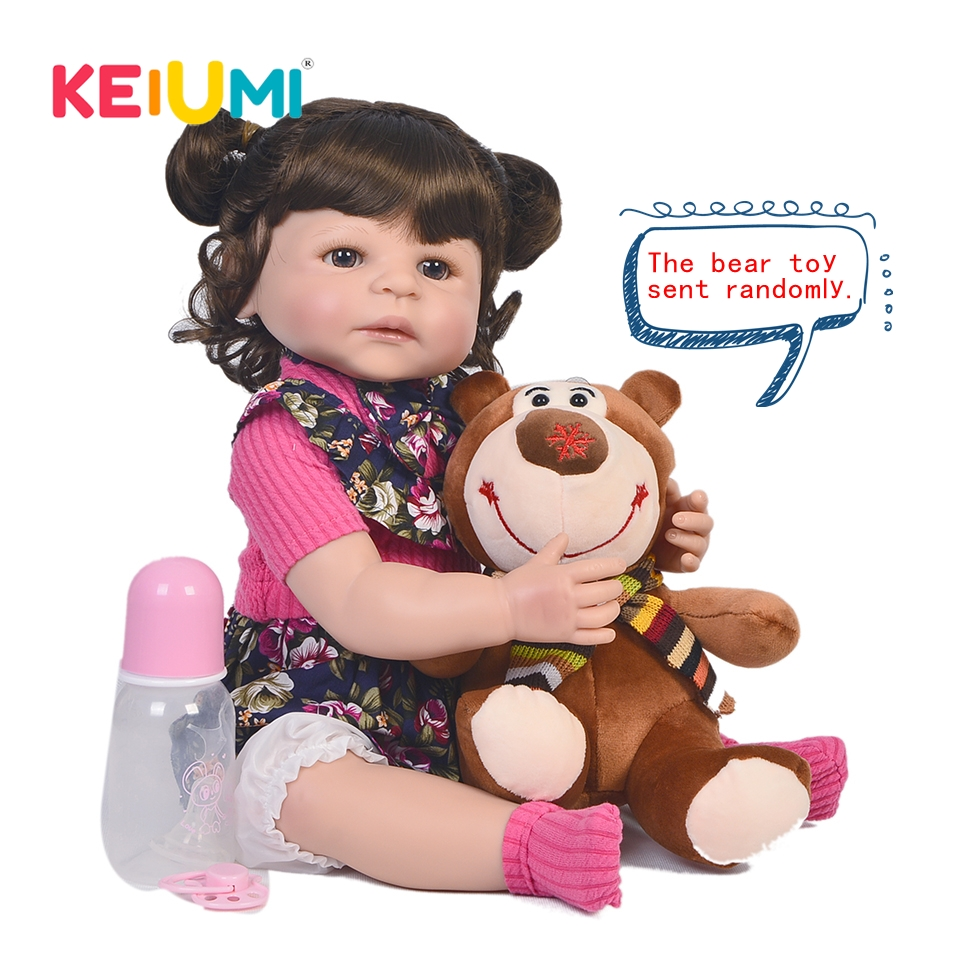 Fashion 22'' Reborn Boneca Full Body Silicone Vinyl Looks Real Reborn Baby Dolls Realistic Princess Kids Children's Day Gifts-in Dolls from Toys & Hobbies    1