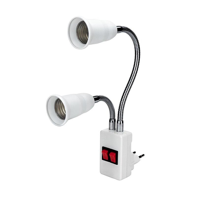 Double Head Flexible Lamp Base Light E27 AC85-265V Extension Converter On/Off Switch LED Bulb Holder Screw Socket EU/US PlugDouble Head Flexible Lamp Base Light E27 AC85-265V Extension Converter On/Off Switch LED Bulb Holder Screw Socket EU/US Plug