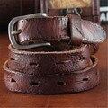 Cintos de Couro do couro Genuíno Cinta pin fivela de cinta calça jeans fantasia do vintage das mulheres da marca Designers de alta qualidade Largura 2.3 CM luxo