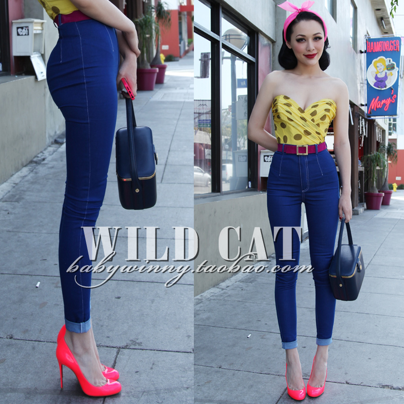 FREE SHIPPING Wild Cat Limited Edition Vintage Pin Up Skinny Pencil Pants High Waist Hip Up Cotton Denim Pants Women Slim Jeans