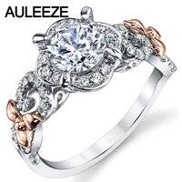 14 K Two Tone Vàng Engagement Ring Floral Halo 1 Carat Vòng cắt Moissanites Lab Grown Diamond Ring Độc Đáo 585 Gold Diamond Ring