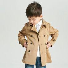 Весенне-осенние тренчи для мальчиков, модная детская ветровка, куртка для мальчиков, От 2 до 7 лет верхняя одежда с поясом для подростков, Детская парка