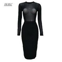 BKMGC Mùa Hè Mới Thời Trang Phụ Nữ Lưới Vỏ Bọc Bandage Dress 2017 Hộp Đêm Cocktail Dài Tay Áo O-Cổ Knee-Length Bodycon Dresses