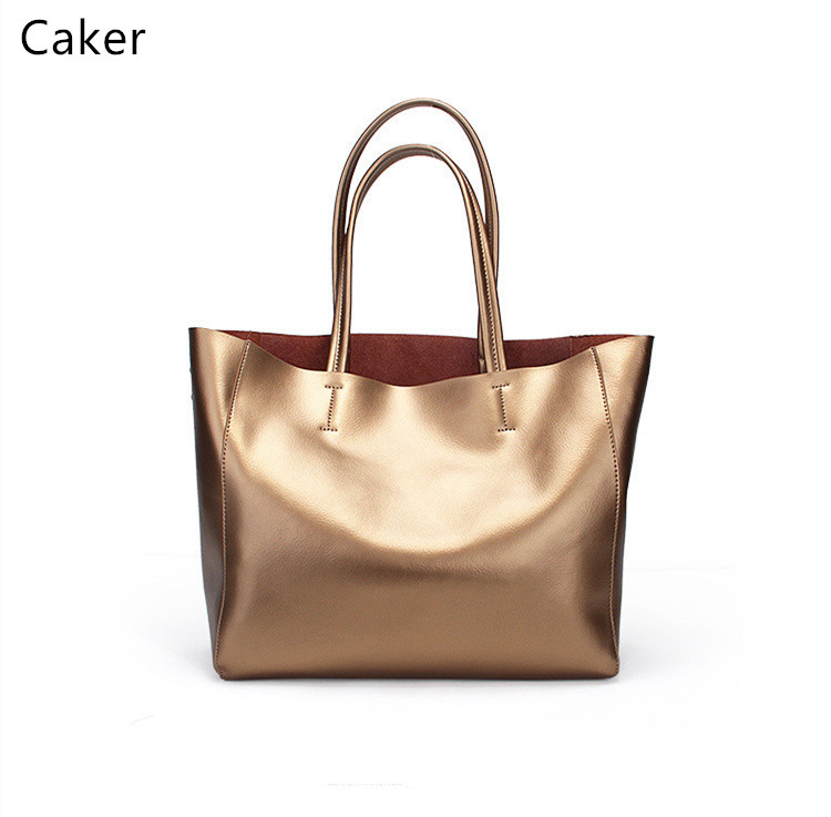 Caker 2017 Women Large Totes Bags Female 6 Color Cow Genuine Leather Shoulder Bags Lady Black Gold High Quality Handbags Totes caker brand women large pu casual totes lady patchwork handbags vintage shoulder bags female panelled jumbo messenger bags