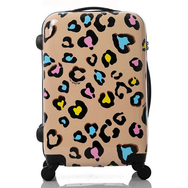 "Women Travel Suitcase Girls Leopard Print Luggage ABS+PC Universal Wheels Trolley Luggage Bag 20"" 22"" 24"" inches Rolling Luggage"