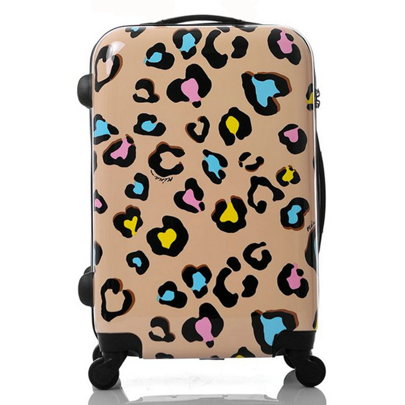 Women Travel Suitcase Girls Leopard Print Luggage ABS+PC Universal Wheels Trolley Luggage Bag 20 24 inches Rolling Luggage lemon leaf printed elastic waist flared skirt