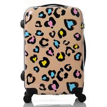 Women Travel Suitcase Girls Leopard Print Luggage ABS+PC Universal Wheels Trolley Luggage Bag 20″ 24″ inches Rolling Luggage