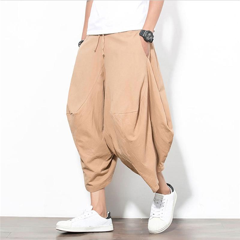 Trousers Harem-Pants Drawstring Loose Male Men's Plus-Size Cotton Summer 5XL Wide-Leg