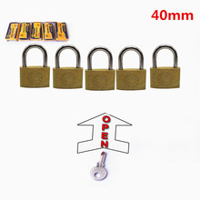 5 PC 40mm padlocks open by same keys Copper locks padlock for wood door lock Free shipping