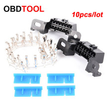 10pcs 16pin Obd2 Connector OBD 16Pin Female Angle Connector OBD 2 Female Wire Sockets Connector Obd Ii Adapter Diagnostic Tools