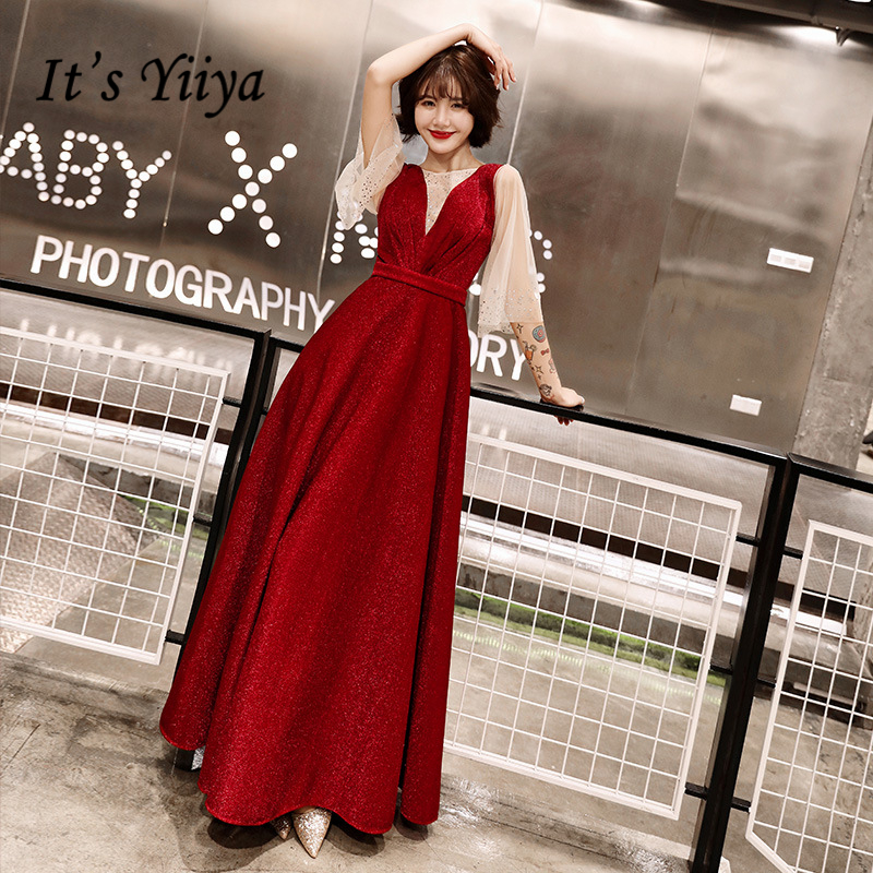 It's YiiYa Evening Dresses Elegant O-neck Three Quarter Wedding Formal Dress Royal Crystal Lace Up Wine Red Long Party Gown E391