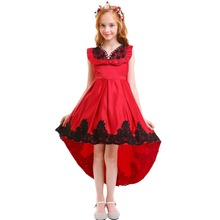 Elegant Kids Dress for Girls Red Lace High Low Trailing Long Princess Photo Shoot Birthday Dresses Girl