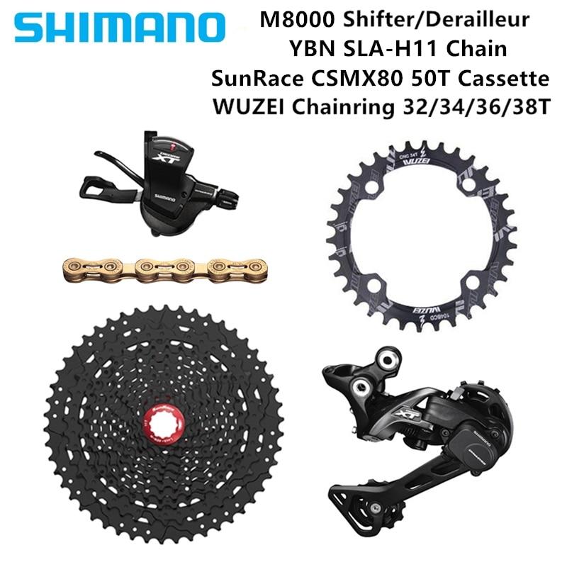 Shimano DEORE XT M8000 1X11S bike Derailleurs 11 46 50T CSMX80 Cassette Chainring KMC X11 93