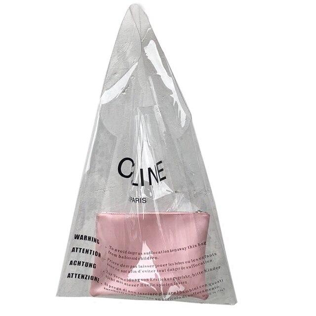 d3d7580be4 Fashion Brand Girl Big Capacity PVC Handbag Transparent Shoulder Bag Women  Summer Laser Candy Jelly Beach Tote Bag Shopping Bag