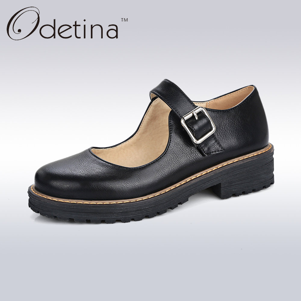 Odetina 2017 Fashion Handmade Womens Oxfords Flats Buckle Ankle Strap Mary Jane Flat Shoes Retro Vintage Round Toe Casual Shoes womens fashion handmade ankle strap pointed toe party wedding flats shoes cke119