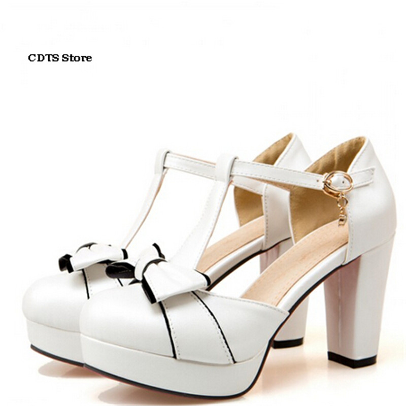 CDTS Crossdresser:33 34 43 Girl's thick heel T strap Lolita shallow mouth shoes woman toe cap covering sandals bow female pumps