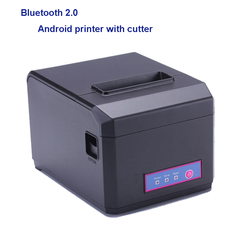 80 mm bluetooth thermal receipt printer with English drivers pos android ticket printer for restaurant with auto cutter printing