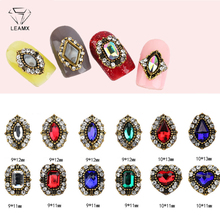 LEAMX 10pcs Mix Color Ancient Gold Alloy Crystal Nail Art Decorations 3D Glass Rhinestone Gems Jewelry Sparkling Decor L461