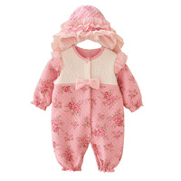 Cute Newborn Baby Girl Clothes New Style Girls Princess Bow Flowers Romper Hat 2pcs Long Sleeve