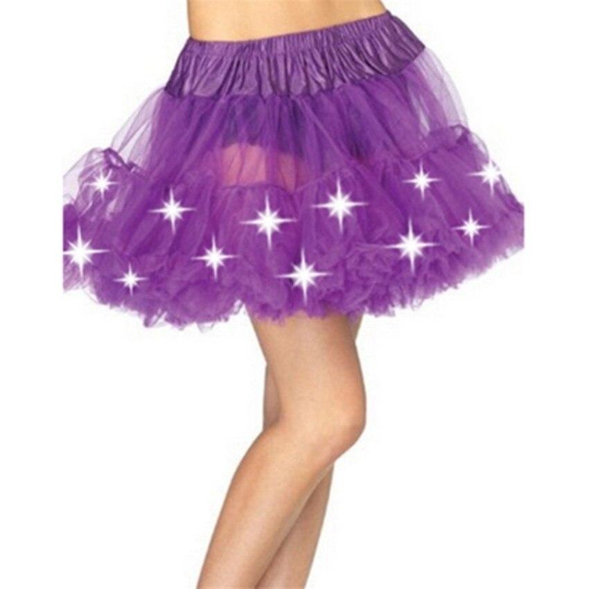 Abbille Womens Led Pettiskirt Mini Skirt Sexy Kilt Mini Tutu Skirts LED Decoration light Belly Dance Wear Clothing skrit Jupe