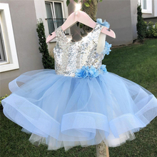 Princess Kids Baby Fancy Wedding Dress Flower Sequins Party Gown For Girl Tutu Tulle Backless Dresses Christening Outfits 3 4 5T