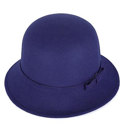 1e529bb9276f7  DINGDNSHOW  2018 Brand Fedora Hat Vintage Wool Kid Felt Bowler Floral  Elegant Solid Color