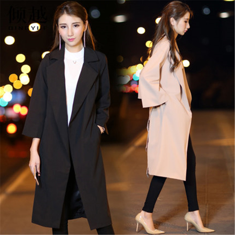 2019 New Spring Autumn Women's High Fashion Plus Size Suit Collar Loose   Trench   Coat Three Quarter Ladies Long Blazers Suits v720