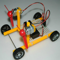 Diy Power-driven car toy Wind Power winf-force 2 airscrew assembling electric toy car handmade model 00175