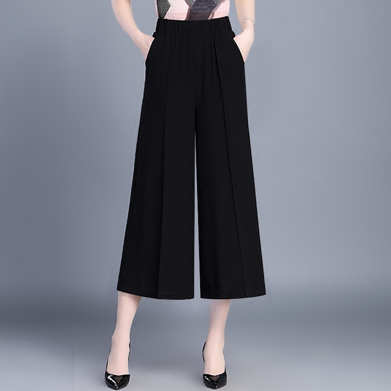 Black Chiffon   Wide     Leg     Pants   For Women High Waist 2018 Solid Fashion Bottoms Elegant Summer Ankle-Length   Pant   Female Plus Size