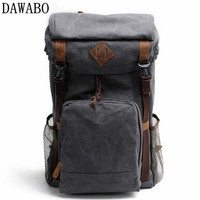 Vintage Leather Military Canvas Backpack Men S Backpack School Bag Drawstring Backpack Travel Large Capacity Backpack