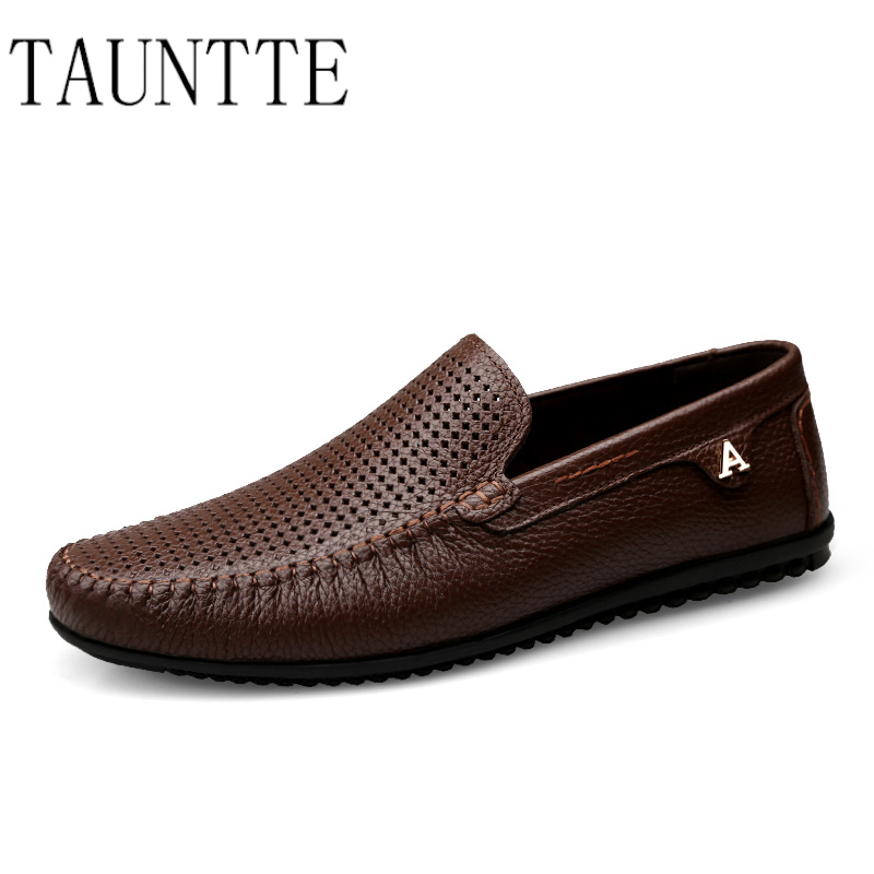Tauntte Plus Size Genuine Leather Men Loafer Breathable Casual Anti-Odor Cow Leather Shoes fashion men boat shoes genuine leather casual shoes breathable male anti odor casual shoes