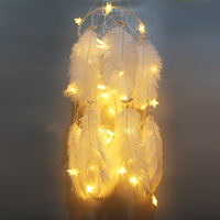 Big LED star light Dreamcatcher with white Feather shell Dream Catcher Wall Hanging Home Party Decoration Gift