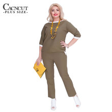 CACNCUT Two Piece Sets Women's Clothing Tops+Pants Summer Lrage Big Sizes Women's Suits Work In Office Ladies Suit Casual Costum