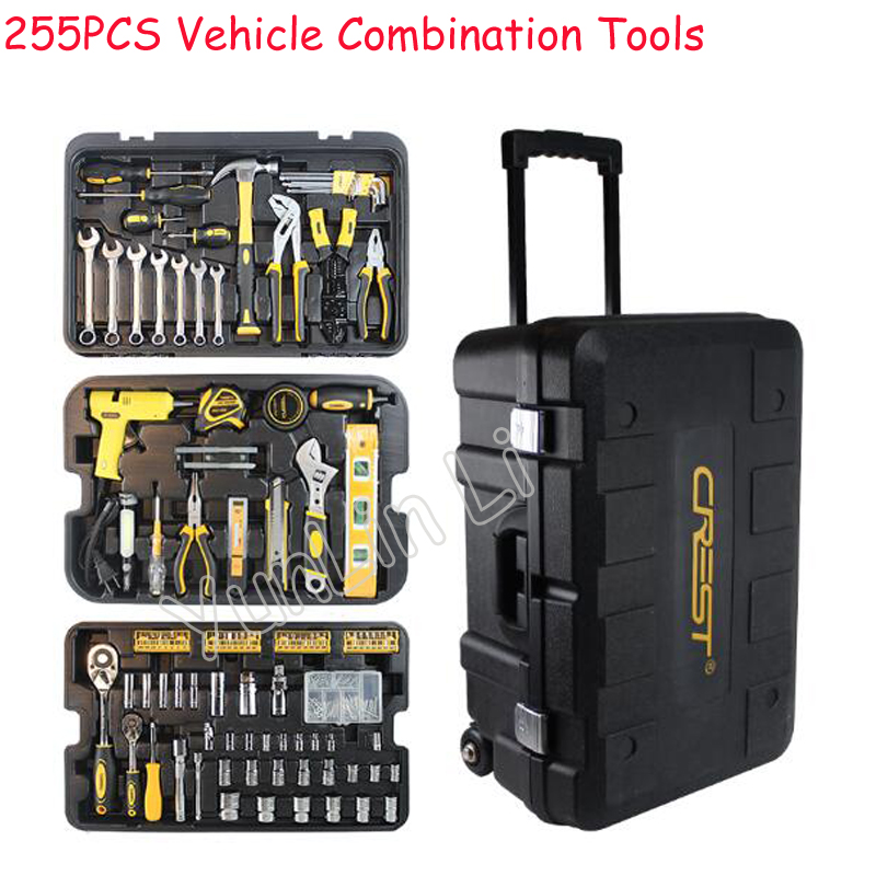 Conjunto de herramientas multifunción de mantenimiento doméstico, combinación de herramientas, destornillador, cuchillo, herramienta con caja de herramientas de laminación 105255