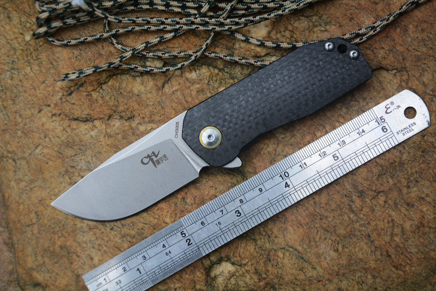 CH3005 new knife 2.56 AUS-8 blade folding knives ball bearing carbon fiber+TC4 handle outdoor camping knives free shipping quality tactical folding knife d2 blade g10 steel handle ball bearing flipper camping survival knife pocket knife tools