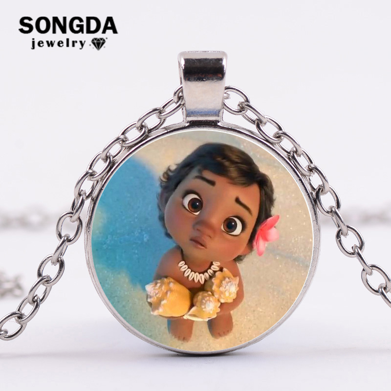 Anime Bronze Plated Jewelry With Glass Cabochon Movie Moana Pattern Choker Long Pendant Necklace For Women Wedding Cosplay Gift Attractive Appearance Costumes & Accessories Costume Props