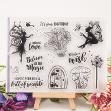 Fairy Girl Mushroom Words Transparent Clear Stamps Silicone Seal for DIY Scrapbooking Card Making Album Decoration Crafts