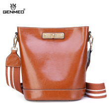 GENMEO Brand New Arrival Genuine Leather Bucket Handbag Women Cow Leather Shoulder Bag Female Cowhide Tote Bags Feminina Bolsa new arrival women handbag genuine leather tote bag famous brand embossed cowhide vintage messenger shoulder bags high quality