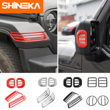 SHINEKA Car Wheel Eyebrow Lamp Rearview mirror turn signal Headlights taillights Cover Kit Accessories For Jeep Wrangler JL 2018