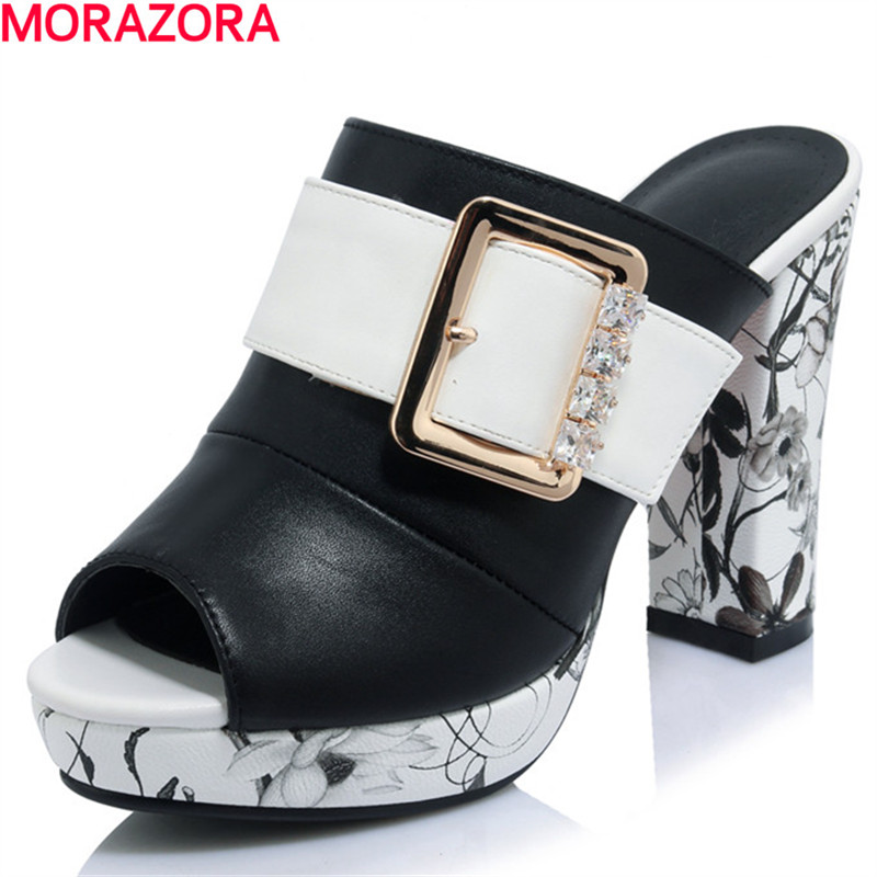 MORAZORA hot sale Platform shoes high heels sandals women PU summer shoes party shoes rhinestone buckle