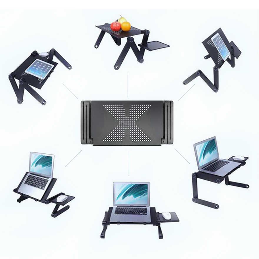 SUFEILE de aluminio mesa plegable para Laptop computadora de escritorio para cama de 360 grados de rotación multifuncional plegable portátil de D5